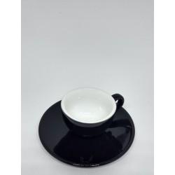Jogo de Xícara com Pires para Café Cremaware - 60ml preta com branco