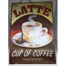 Quadro decorativo em metal estilo vintage - Coffee Fresh