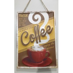 Quadro decorativo em metal estilo vintage - 24hs Coffee