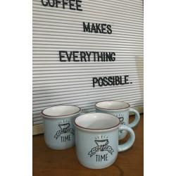 Kit Jogo com 03 Xícaras em Cerâmica Coffee Time
